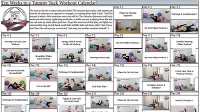 Ten Weeks to a Tummy Tuck Workout Calendar by Pilates on Fifth
