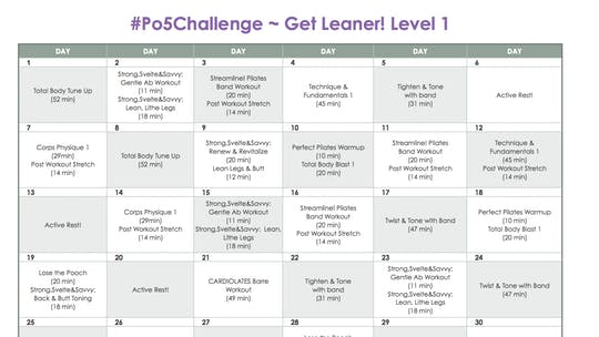 Instant Access to Level 1 Leaner - #Po5Challenge by Pilates on Fifth, powered by Intelivideo