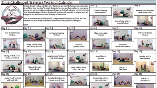 Instant Access to Po5o Time Challenged Travelers Workout Calendar.pdf by Pilates on Fifth, powered by Intelivideo