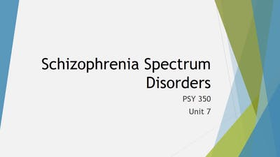 Instant Access to Abnormal Psychology Unit 7 lecture Schizophrenia Spectrum Disorders by Minnay Worldwide Inc, powered by Intelivideo