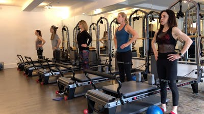 Reformer with Props: Standing Lunges - Bands by Zayna Gold Online