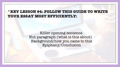 MONTH 1, LESSON 4 FOLLOW THIS GUIDE TO WRITE YOUR ESSAY MOST EFFICIENTLY by All the Write Moves