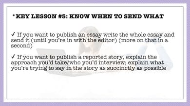Module 6, Key Lesson 5 Know When to Send What by Anna David, LLC
