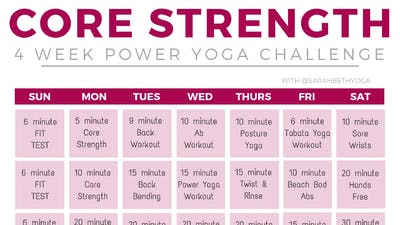 Instant Access to 4-week Core Strength Challenge by Sarah Beth Yoga, powered by Intelivideo