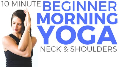 Instant Access to 10 minute Morning Yoga for Beginners 😃 Yoga for Neck & Shoulder Tension by Sarah Beth Yoga, powered by Intelivideo