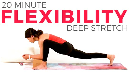 Instant Access to 20 minute Deep Stretch Hip Flexors, Quads & Hamstrings by Sarah Beth Yoga, powered by Intelivideo