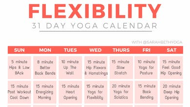 31 Day Flexibility Calendar by Sarah Beth Yoga