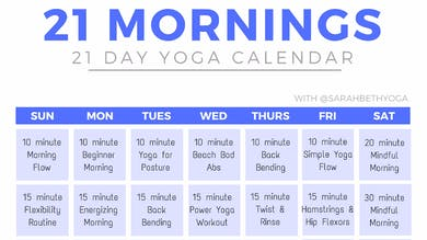 21 Mornings Yoga Calendar by Sarah Beth Yoga