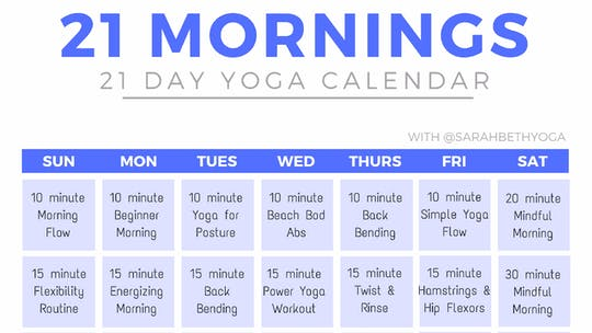 Instant Access to 21 Mornings Yoga Calendar by Sarah Beth Yoga, powered by Intelivideo
