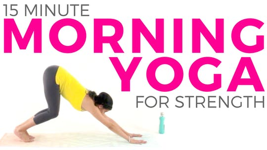 Instant Access to 15 minute Morning Yoga Flow for Strength & Energy by Sarah Beth Yoga, powered by Intelivideo