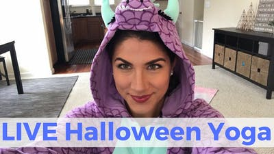 Instant Access to LIVE Halloween Yoga Challenge by Sarah Beth Yoga, powered by Intelivideo