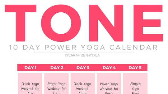 Instant Access to TONE Yoga Program - Calendar & Guides by Sarah Beth Yoga, powered by Intelivideo