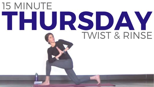 Instant Access to Thursday - Twist & Rinse Vinyasa Yoga Routine by Sarah Beth Yoga, powered by Intelivideo