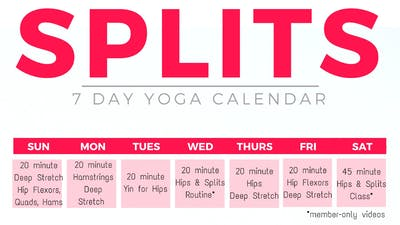 Instant Access to SPLITS Calendar by Sarah Beth Yoga, powered by Intelivideo