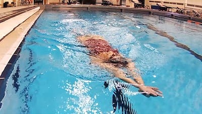 Instant Access to Breaststroke Kick on Back: Laura Sogar by Fitter and Faster Swim Tour, powered by Intelivideo