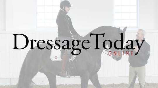 Katrin Bettenworth training Julien to get the horse to use the hind leg in a more engaging way by Dressage Today Online