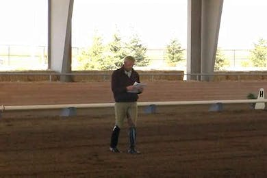 Courtney Frazer, part 1, day 2, Preparation for the canter pirouettes. Bettering the pirouettes. Getting the horse to sit and be active behind. Discussion about how to get the horse more up in the withers. by Dressage Today Online