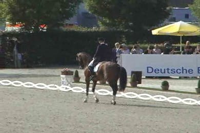 Anne Van Olst, DEN, Exquis Clearwater, 1998, DWB x Carpaccio, 69.9 by Dressage Today Online