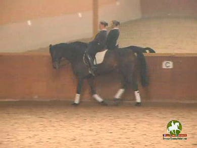 This portion of the video is focused on lifting the neck and elevating the topline without getting the neck to curl. Catherine explains her use of Double Bridle on this young horse as a tool to help train the flying changes.Next we move into counter c by Dressage Today Online