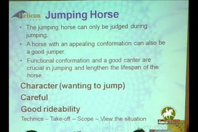 Discussion focused on what to look for in a brood mare and stallion. Conformation overviews. Excellent information for breeders. Jumping horse analysis continued. (No sound) by Dressage Today Online