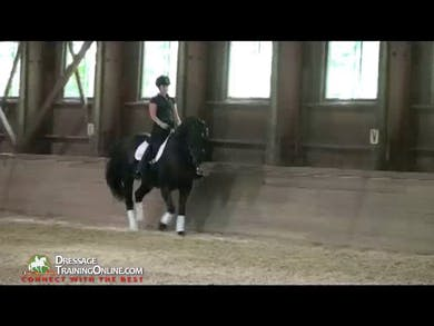 Second Level-counter canter demonstrated and discussed. Two 10 meter half circles are shown and explained how they are supposed to be executed. Think curved line, straight line, curved line. This is a balance exercise.  by Dressage Today Online