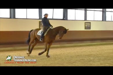 They finish their canter work, and then move on to the shoulder in and haunches in at the trot. by Dressage Today Online