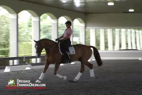 Instant Access to  Ms. Peters gives a clear explanation of what the result of the half halt should be. by Dressage Today Online, powered by Intelivideo