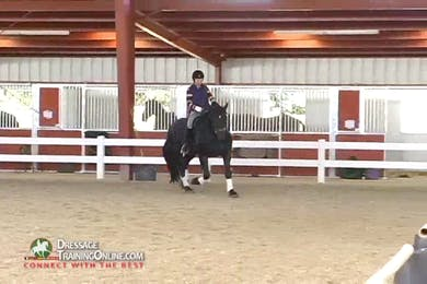 When asking for the canter, Ms. McDonald has the rider maintain the tempo and do lots of transitions both between gaits and within them. by Dressage Today Online