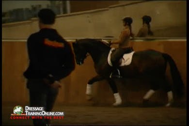 The gelding uses his hind end more, but they still have to make sure that he remains in front of the leg. by Dressage Today Online