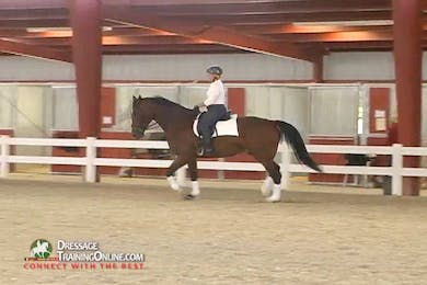 Using counter flexion to straighten him, they continue the trot left.  The rider works on remaining steady in the contact while keeping the bit still in the mouth.  Ms. McDonald provides great tips for how the rider uses their body to accomplish this. by Dressage Today Online