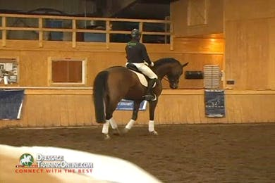 Video 1: Basic Training Of the Five Year Old- Christoph Hess begins this rider with leg yielding on a circle, looking for the horse to stretch down. by Dressage Today Online