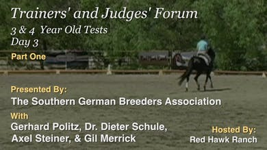 Part 1:  The three year old test is ridden by a single horse, although in Germany there would be more than one horse in the arena riding in single file.  The participants judge the test for discussion later. by Dressage Today Online