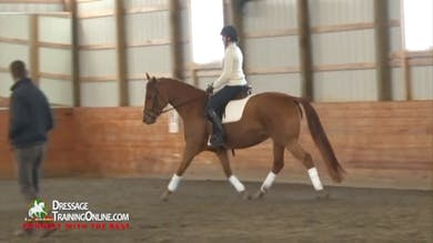As they move to the sitting trot, the mare slows down, so they work on preparing for the transition from rising to sitting trot. Dr. Möller stresses that the rider does not open her hands when the mare gets slow. by Dressage Today Online