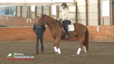 As the mare continues to show resistance to going forward, Dr. Möller assists from the ground.  She shows greater resistance in the walk, and they continue to move forward while maintaining the contact. by Dressage Today Online