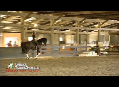 This segment begins with an exercise to check that the horse is adjustable in the canter from collection to more forward. by Dressage Today Online