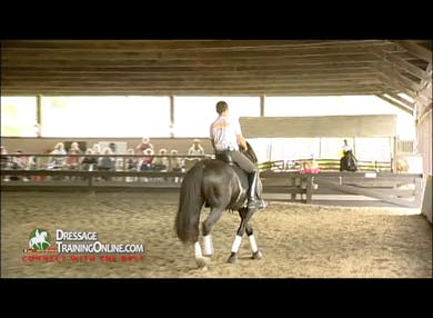 Juan rides the horse, demonstrating the walk pirouette to canter pirouette with collection, balance and forwardness.  The rider remounts and shows a much improved pirouette. by Dressage Today Online