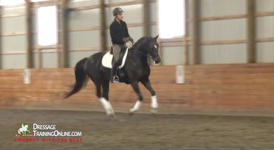 Dr. Möller asks for bend on the circle to transition from trot to canter, holding the bend during the transition.  by Dressage Today Online