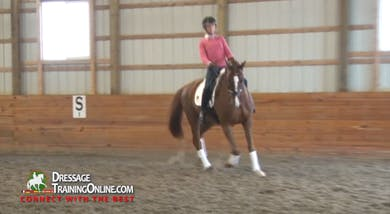 They work getting him forward in front of the leg, keeping the contact and asking for more forward when he slows down. They continue to ask him to work in the sitting trot until he goes past the shy, and then ask him to maintain the rhythm.  by Dressage Today Online