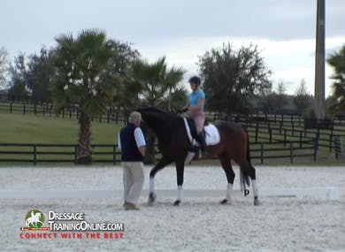 Mr. Steiner introduces the reinback, and then discusses what should come next in his training.  They end with the turn on the haunches.  by Dressage Today Online