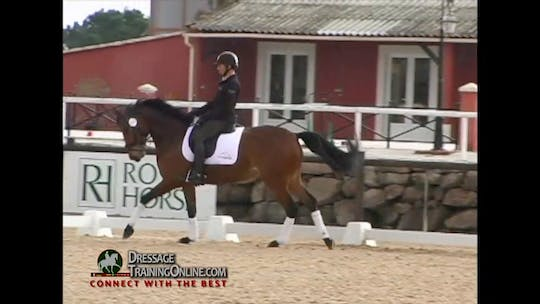 Instant Access to  After crossing the diagonal, they continue in the counter canter.  They do a canter walk transition and then do another walk canter transition with great success. by Dressage Today Online, powered by Intelivideo