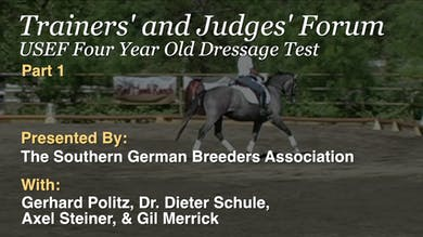 The USEF Four Year Old Dressage Test is ridden and judged by Dr. Dieter Schule and the Judges Forum participants. by Dressage Today Online