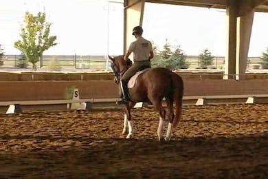 Michael Etherly, part 2, day 1, Jan gets on Michael's horse to feel the ridability in the short steps to develop the piaffe but more that you can get your horse to sit and carry, and bring this into the canter pirouette. by Dressage Today Online
