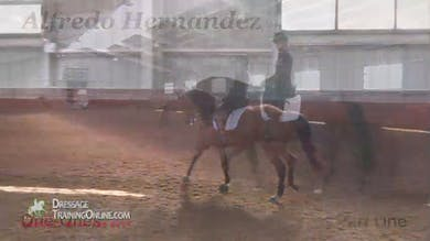 We join this lesson after the warm up, and Alfredo has the rider performing passage canter passage transitions. - Part 1 by Dressage Today Online