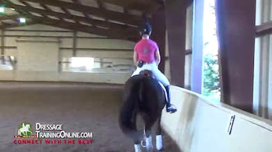 Debbie encourages this rider to feel what her horse is doing with his mouth, and to bring him back and steady him in her hand when his mouth is really active and not steady. - Part 1 by Dressage Today Online
