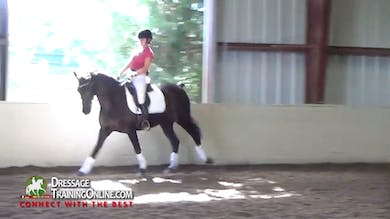 The single changes are next, with Debbie cautioning her to keep the canter steady and on the aids for the changes. - Part 3 by Dressage Today Online
