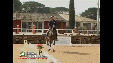 They make sure the horse is in front of the leg and that he is supporting with the inside leg in the half pass. - Part 1 by Dressage Today Online