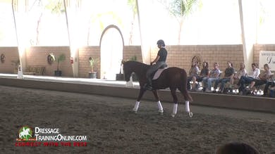 As the next pair begins, Scott Hassler asks the rider to have the mare walk without hitting the contact on the reins. - Part 1 by Dressage Today Online