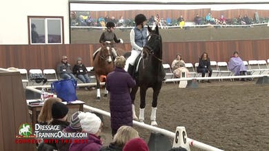Janet Foy starts by going through the First Level Test 3 test with the rider while offering tips on how to ride the test. - Part 1 by Dressage Today Online