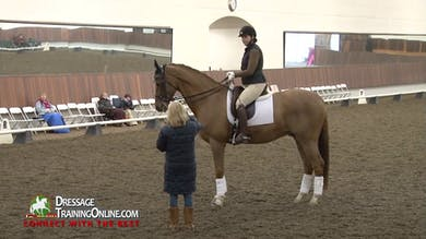 Debbie starts out working with this horse in the canter, which can often improve the trot. - Part 1 by Dressage Today Online