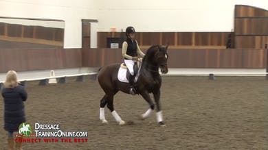 Going to the right he has an easier time, and Debbie asks for haunches in on the circle at the canter. - Part 3 by Dressage Today Online